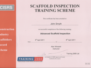 1. JAS Scaffolding Advanced Scaffold Inspection Certificate