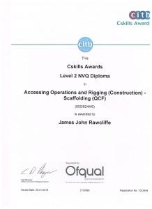 Jay Rawcliffe - Level 2 NVQ