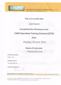 Jack Naylor's Trainee Scaffold (COTS) Certificate