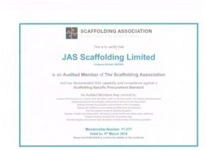 Audited member of Scaffolding Association to IQV Level