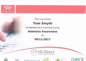 Asbestos Cert Tom Smyth