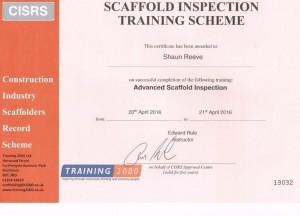 Shaun's Adv Inspection Certificate